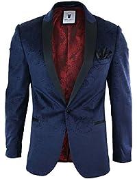 Marc Darcy Mens Velvet Paisley Blue Black Blazer Tuxedo Dinner Jacket Smart Casual