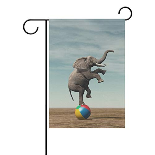 ASKYE Garden Flag Decorative Elephant Balancing on Colored Beach Ball Polyester Double Sided Printing Fade Proof for Outdoor Courtyards Garden(Size: 12.5inch W X 18 inch H) - American Flag Beach Ball