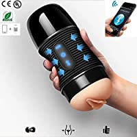 Plswg BFFs Dispositivo de masturbación Humana, Taza de masturbación Bluetooth Altavoz, 8 Tipos de frecuencia de vibración, Juguetes sexuales