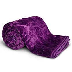 ClothFusion Solid Color Ultra Silky Soft Heavy Duty Quality Indian Mink Blanket 6.6 lbs Double Purple