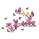 Magnolien Vögel Schmetterlinge Wandtattoo Papier Home Aufkleber Abnehmbare Wand Vinyl Wohnzimmer Schlafzimmer PVC Kunst Bild Wandmalereien Wasserdicht DIY Stick für die erwachsene Teens Childres Kids Kinderzimmer Baby