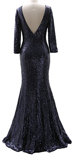 MACloth 3/4 Sleeves Sequin Long Mother of the Bride Dress Elegant Evening Gown Dark Green