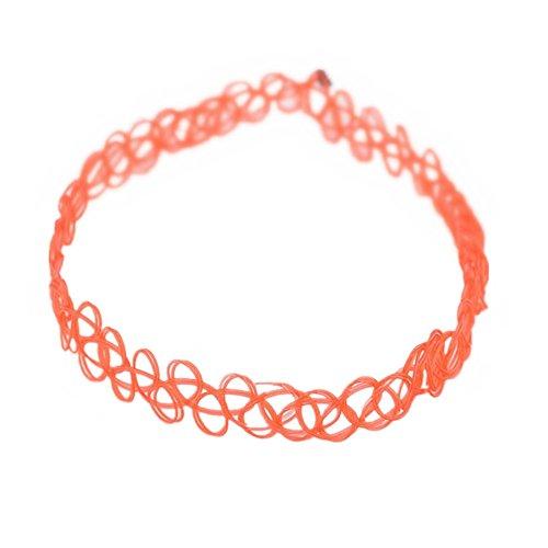 c Tätowierung Halsband Tattoo Henna Choker Hippie Elastische Halskette (Orange) (Orange Halskette)