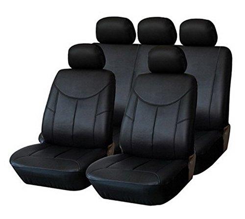 PREMIUM Kunstleder Sitzbezug Auto Bezug 2er SET VORN SCHWARZ Universal Universell für viele Fahrzeuge