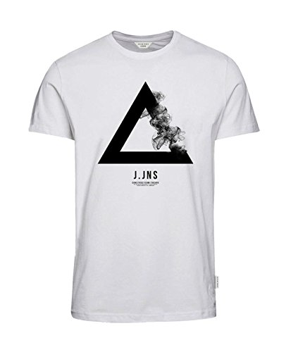 JACK & JONES Herren T-Shirt jcoFAITH jcoVANA Tee Rundhals Logoprint Bunt Slim Fit Weiß (White Fit:REG jcoSMOKES)
