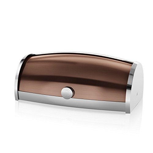 Swan Townhouse Bread Bin, Stainless Steel, Copper