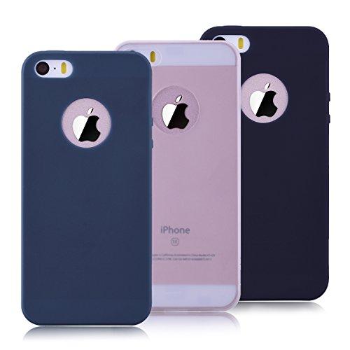 3 x Coque iPhone 5 / 5s / SE, Yokata Solide Mat Anti-Fingerprint Case Housse Étui Soft Doux TPU Silicone Flexible Backcover Ultra Mince Coque - Noir + Bleu Marine + Transparente