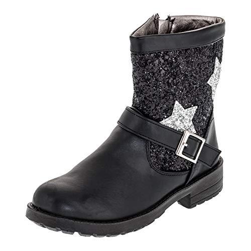 Giardino Doro Trendige Mädchen Stiefeletten Stiefel mit Glitzer Schnallen und Reißverschluss M469sw Schwarz 25 EU