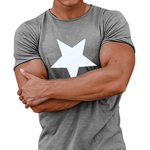 t Kurzarmshirt Tops Print Shirt Casual Basic O-Neck Gym Fitness T-Shirt Herren Sommer Slim-Fit Shirt ()