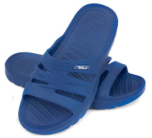 Aqua-Speed Palmes® Vena Lames de plage pour enfants et Mesdames (Tailles: 28–41Bain Chaussures Antidérapant semelle extérieure piscine vacances Mer + jusqu'® -lanyard) - Farbe 01 / Blau