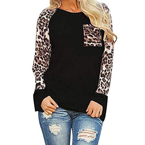 Rovinci Damen Leopard Print Bluse Langarm Pullover Große Größe Damenmode Patchwork T-Shirt Oversize Lose Tops Pulli Sweatshirt Bluseshirt Hemdblusen ()
