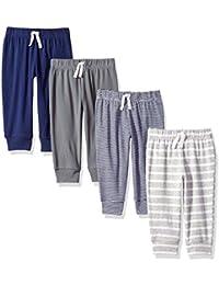 Amazon Essentials 4-Pack Pull-on Pant Unisex-Bimbi 0-24