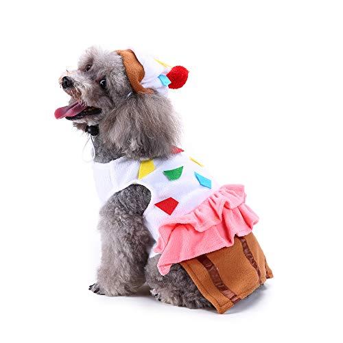 Amakunft Süßes Haustierkostüm, Cupcake-Haustier Anzug mit Hut für Hunde und Katzen, Halloween, Weihnachten