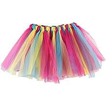 72771a6f9f QinMM Falda Niña Chicas Enaguas Arco Iris Tutú Vistoso Vestir Ropa de Baile  Costume