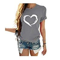 DUe Women Blouse Round Neck Short-Sleeve Casual Loose Plus Size T-Shirt Grey L