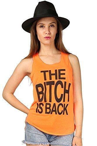 Damen Freizeit Schlampe is Back Slogan ärmellos U-ausschnitt Gym Sommer Tank-rand Trikot Weste T-Shirt Top Übergrößen, Bitch is Back Neonorange, M/L (UK 12/14) (Schlampe Damen-tank-top)