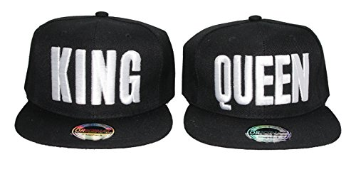 Snapback Cap King Queen Mr Mrs Brother Sister Damen Herren Caps Camouflage (K&Q Black)