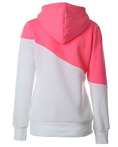Donna Sportive Pullover Colore Contrasto Felpa con Cappuccio Maniche Lunghe Maglia Maglione Hoodies Pink Bianco