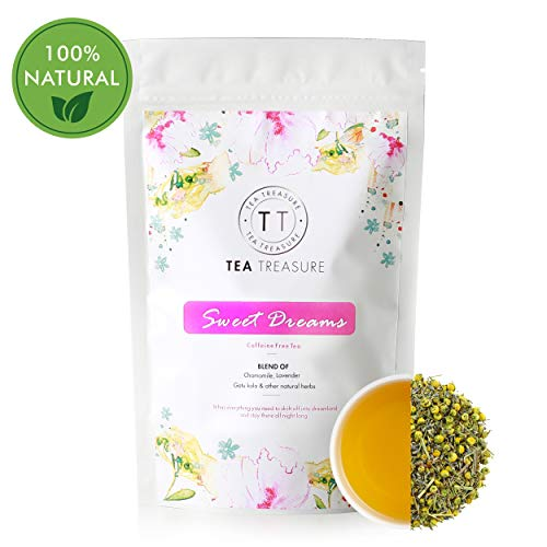 TeaTreasure Sweet Dreams Tea - 50 gm - Chamomile & Lavender with Other Natural Herbs - Caffeine Free Calming Tea, relieves Anxiety & Stress.
