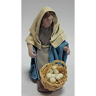 Arte Pesebre Pastora adorando con Cesta de Huevos, para Figuras de 12 cm.