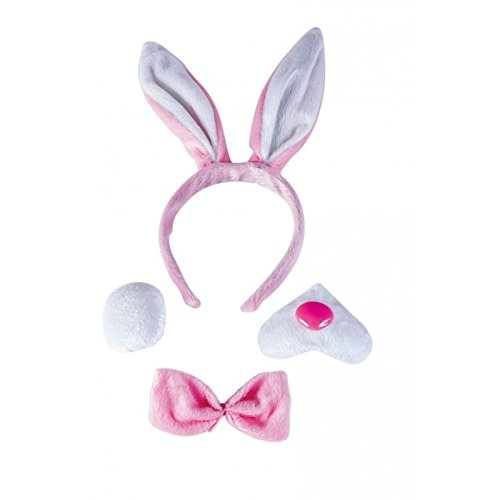 Unbekannt P'tit Clown 60126 Kostüm Bunny-Haarreif-Schwanz-Schleife-Schnauze-mehrfarbig (Bunny Kostüm Kit)