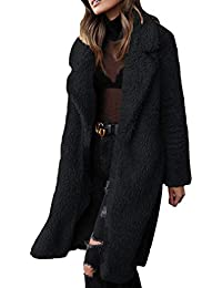 Hongxin Donna Casual Fluffy Plain Risvolto Cappotto Inverno Plus-Size  Maglione Open Front Jacket Notch ffdebd79494