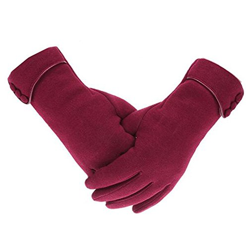 Yeshi Fashion Frauen Telefon Touch-Handschuhe Winter Warm Winddicht Outdoor Sport Handschuhe, weinrot