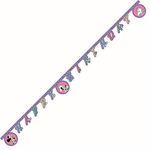 Procos Banner Disney Minnie Mouse-Unicornio de papel, color rosa, lila.