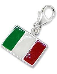 So Chic Joyas - Colgante Charm Italia bandera italiana Plata 925