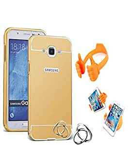Aart Luxury Metal Bumper + Acrylic Mirror Back Cover Case For Samsung7106 Gold+ Flexible Portable Mount Cradle Thumb OK Designed Stand Holder
