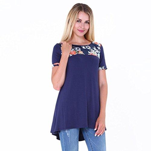 KanLin Damen O-Ausschnitt T-Shirts beiläufiges lose Spitzen Blusen T-Stück Blau