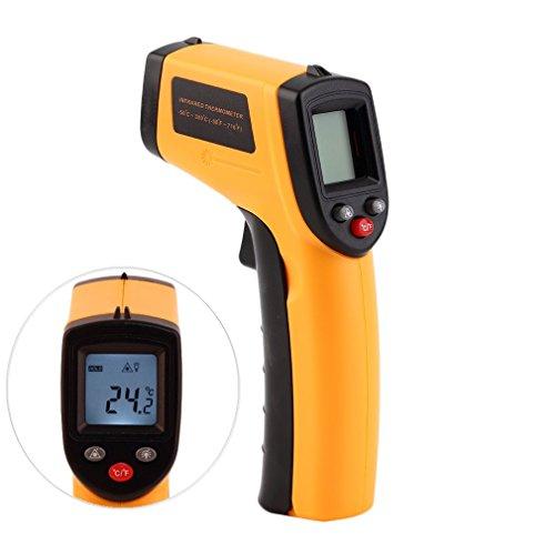 Digital Laser Infrarot Thermometer IR Pyrometer berührungslos Temperaturmessgerät Temperaturmesser, -50 bis +380°C, LCD Beleuchtung
