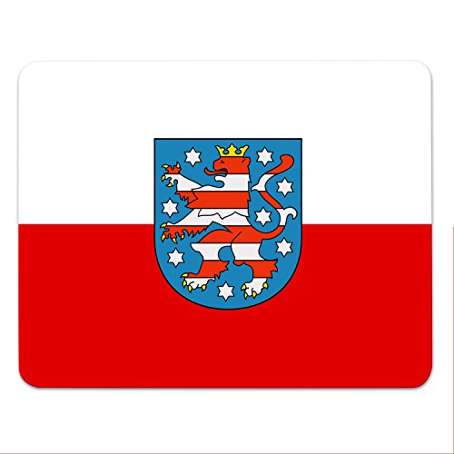 Addies Mousepad THÜRINGEN - schönes Mauspad Motiv in edler Geschenk-Verpackung mit Kautschuk Untermaterial, 240x190mm - Bundesländer Flaggen