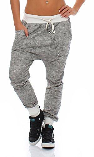 Moda Italy trendy Damen Sweatpants Baggy Boyfriend Freizeithose Jogginghose Baumwolle Sporthose Loose fit (Einheitsgröße: Gr. 36-40, Weiß)