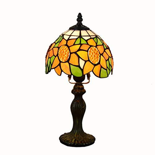 ZIXUAA Lámpara de Mesa Estilo Flor Tiffany del Sol Americano, E27-40w, luz...