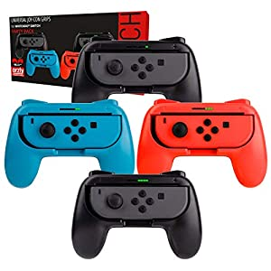 Switch Controller Griffe (Party Pack der 4x Orzly Grips fur Multiplayer Spiele, Super Smash Bros Switch Kompatible, für Nintendo Switch JoyCon Controllers) Vier Griffen (1x Rot, 1x Blau, 2x Schwarz)