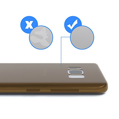"""EAZY CASE Handyhülle für Samsung Galaxy S8 Hülle - Premium Handy Schutzhülle Slimcover """"Brushed"""" Aluminium Design - TPU Silikon Backcover in brushed Rot Brown - Clear"""