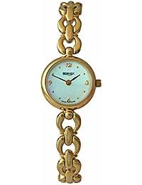 Bernex Swiss Made Ladies round Gold Plate Bracelet Quartz Wrist Watch MOP dial