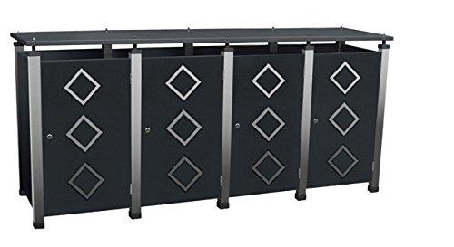Mülltonnenbox Metall, Modell Pacco E Quad18 für vier 120 ltr. Tonnen