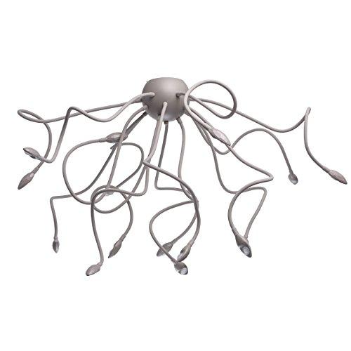 Suspension luminaire multiple LED a 15 bras flexibles design moderne original en mètal et silicone de couleur gris pour chambre enfant ou salon, ampoules 15 * 3W LED 3000K intègrèes