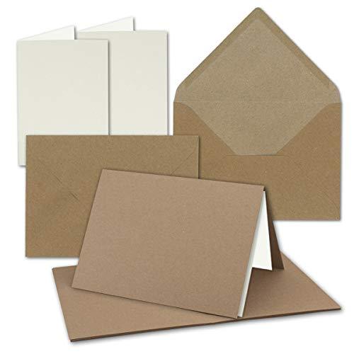 """50x Vintage Kraftpapier Falt-Karten SET mit Umschlägen und Einlegern DIN B6-120 x 169 mm - 350 g/m² - blanko I by GUSTAV NEUSER®"""""""