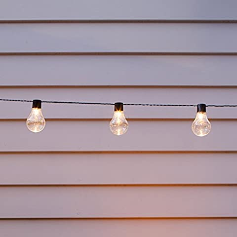 Solar Powered Festoon Party Lights with 10 Warm White LEDs by Lights4fun