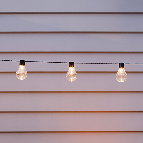 Cadena Solar de 10 Bombillas con LED Blanco Cálido para Exteriores de