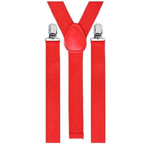Hosenträger Gummiband 3er Clips Anzug Unisex Hose Träger Clip Verstellbar (Rot)
