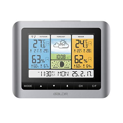 Thermometer Hygrometer kabellos Sensor Mondphasenvorhersage Wetterstation Uhr