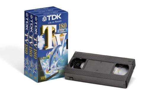 TDK T03163 Hochwertige VHS Videokassette TV-180 (3 Stück) 180 Minuten Spielzeit