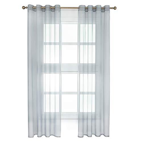 WOLTU VH5513gr-2, 2er Set Gardinen Vorhänge transparent mit Ösen Stores, Doppelpack Ösenvorhang Fensterschal Voile für Wohnzimmer Schlafzimmer Landhaus, 140x225 cm Grau