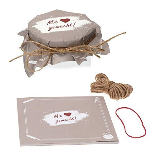 Mit Liebe gemacht - 25 Blatt für Marmeladen-Gläser + 10m Sisalschnur natur + 1 Justierband Abreißblock Geschenk-Verpackung    ()