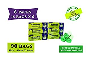 Green City- Garbage Bag  Large: 60CmX81Cm   6 Pack of 15bags- 90Bags   100% OXO-Biodegradable Eco-Friendly Dustbin Bags - Green