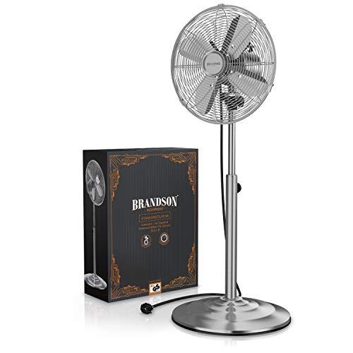 Brandson – Standventilator mit Oszillation 80° im Chrom-Design | 30 cm Rotor | hhenverstellbarer Standfuß | 3 Geschwindigkeiten | 30° neigbar | Ventilator Standlfter | GS-Zertifiziert Bild 3*
